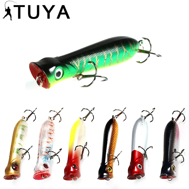 TUYA 8cm 11g whopper popper Fishing Lure Floating Topwater Artificial Bait Bionic Fish 3D Eyes Lipless Hard Bait Top Water Lure