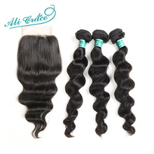 Ali Grace Hair Brazilian Loose Wave 3 Bundles Human Hair With Lace Closure 4*4 Free Part Natural Color Free Shipping Remy Hair(China)