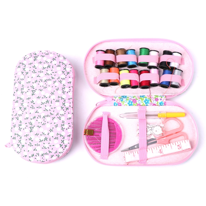 Portable Travel Sewing Kit Box Needle Threads Scissor Home DIY Handwork Tool Crochet Hooks Stitches Needle Safty Pin