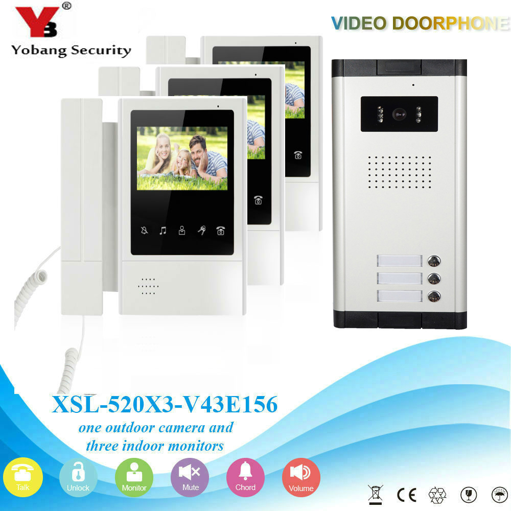 YobangSecurity 3 Units Apartment Video Intercom 4.3 Inch Color LCD Video Door Phone Doorbell Intercom IR Camera Monitor System