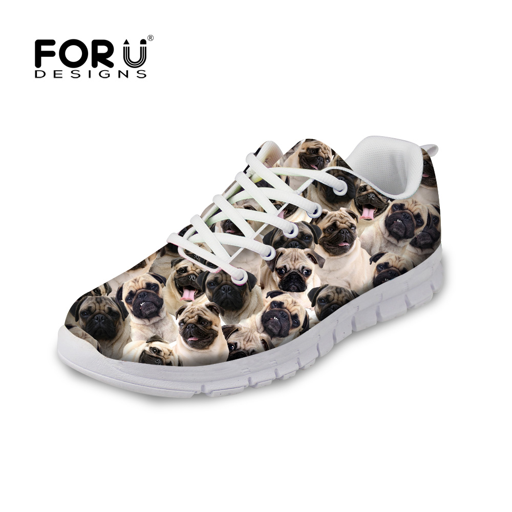 FORUDESIGNS Women Cute Flat Autumn Shoes 3D Animal Pug Dog Pattern Women's Breathable Comfortable Shoes Flats Female Leisure forudesigns cute animal dog cat printing air mesh flat shoes for women ladies summer casual light denim shoes female girls flats