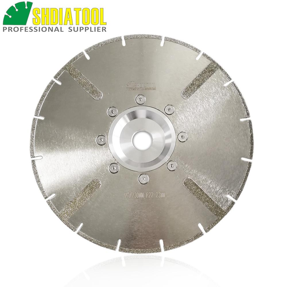 SHDIATOOL 1pc 22.23mm Or M14 Flange Dia 230mm Electroplated Reinforced Diamond Cutting Disc 9 Inch Marble Saw BladeDiamond Wheel
