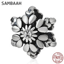 Sambaah Christmas Snowflake Charm with Crystal 925 Antique Sterling Silver Beads fit Original Pandora Bracelet SS2748