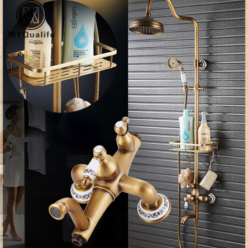 Antique Brass Shower Mixer Faucet Set One Handle with Storage Holder Shower Faucet Taps Swivel Tub Spout 8 Rainfall Showerhead brass thermostatic mixer valve shower set mixer faucet two handle wall mount shower kit stainless steel 10 rainfall showerhead