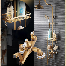Antique Brass Shower Mixer Valve Set One Handle with Storage Holde Shower Faucet Taps + Tub Spout
