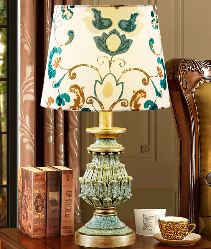 Retro Green Resin Fabric Lamp Shades Big Modern Table Lamps For Living Room Bedroom Bedside Table Lamps Antique Desk Lights free shipping modern dining table designs discount lamp shades