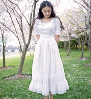 Summer Original Design Vintage Royal Square Collar Puff Sleeve Hollow Out Embroidery Slim 100%Cotton White Long Princess Dress