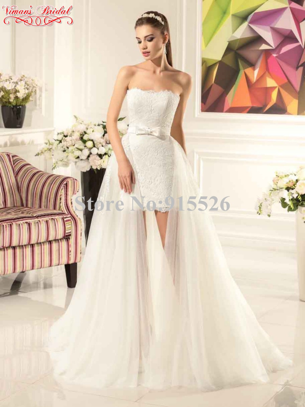 2017 Viman S Bridal White Lace Vestido Noiva Curto Liques Off The Shoulder Mini Wedding Dress With Train Free Shipping Ax27 In Dresses From