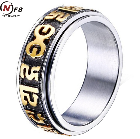 NFS Transfer Lucky Om Mani Padme <font><b>Hum</b></font> Six Words Letters Spinner Stainless Steel Ring Religion Tibetan Buddhism Jewelry For Men