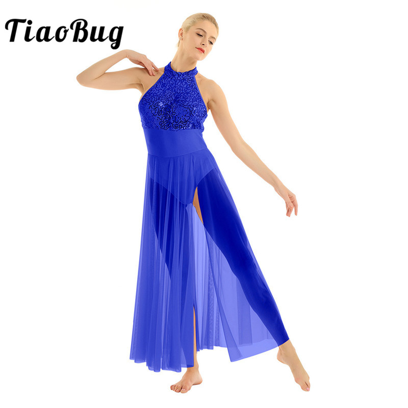<font><b>TiaoBug</b></font> Women Shiny Sequins Ballet Tutu Leotard Mesh Long Dress Adult Ballroom Performance Contemporary Lyrical Dance Costumes image