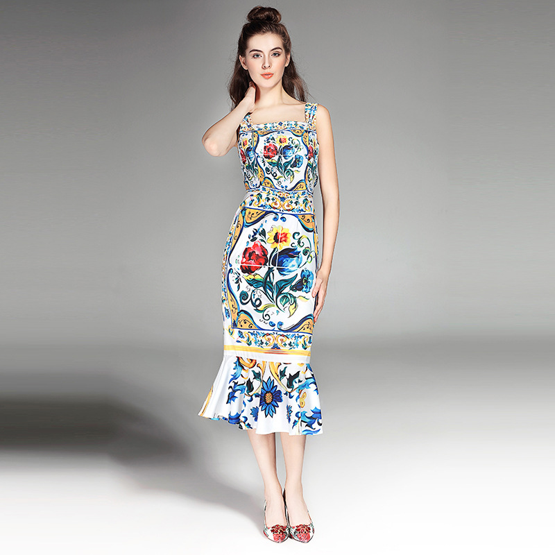 High quality 2017 designer women s summer dress sexy Spaghetti Strap printing Trumpet Mermaid dress