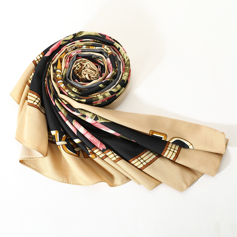 LEAYH Stylish Large Shawls 130 130cm Twill Silk Square Scarf Bouquet Printed Middle East Muslim Bandana Women Head Wraps in Women 39 s Scarves from Apparel Accessories