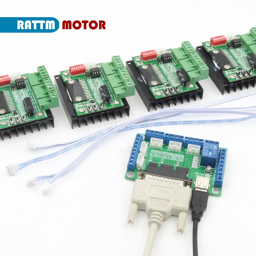 4PCS 3.5A TB6560 Single Axis CNC Stepper Motor Driver 16 Microstep & 5 axis CNC Breakout board interface V5 type MACH/EMC2/KCAM4 new high quality cnc 3 axis tb6560 stepper motor driver board control pad lcd set hy tb3 kh