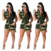Camouflage Printed High Waist Single Breasted Fitting Short Jumpsuits Summer Woman Safari Style Tank Sleeve Pocket PlaysuitsQ287