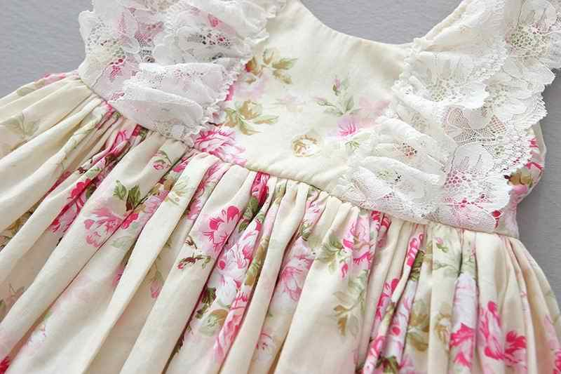 7ad6630b34cac Girl Easter Dress Beige Floral Cotton Dress Lace Edge Pleat Princess Dress  Children Clothing 2-6Y E1951