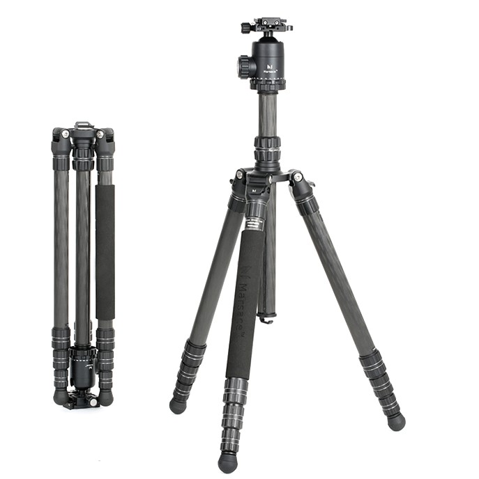 Marsace MT-1541T Carbon Fiber Tripod Loaded to10Kg with 36mm Diameter Aircraft-grade Aluminum Ballhead Universal QR Plate Kit