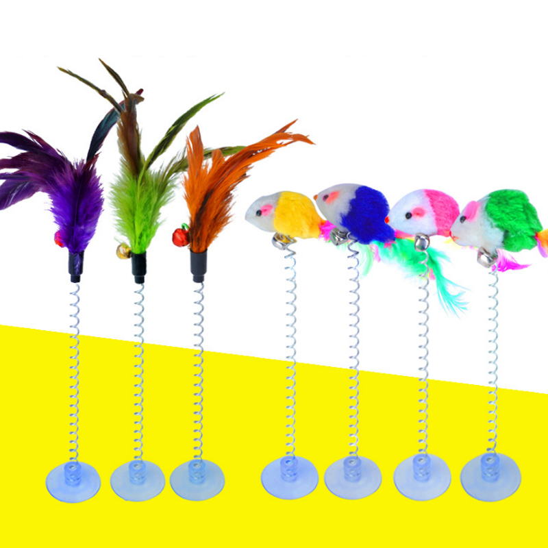 Pet Products Cat Toys Latest Collection Of 1pc 2 Types Funny Cat Toys Elastic Feather False Mouse Spring Sucker Toys For Cat Kitten Playing Pet Toy Training