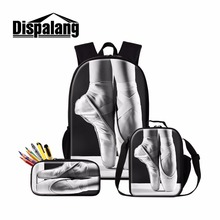 Dispalang Artistic School Backpack Ballet Patterns for Teen Girls Students Insulated Cooler Bag Cute Pencil Bag for Children dispalang popular 16 inch children school backpack ballet dancing shoes prints customized school bag elementary student book bag