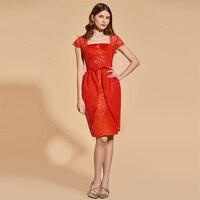 Tanpell Аппликации коктейльное платье Красные кружевные рукава длиной до колена облегающее свадебное платье для выпускного коктейльные плать