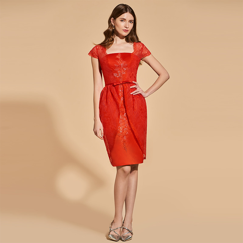 Cocktail Dresses Tanpell Appliques Cocktail Dress Red Lace Cap Sleeves Knee Length Sheath Gown Women Prom Homecoming Customed Cocktail Dresses