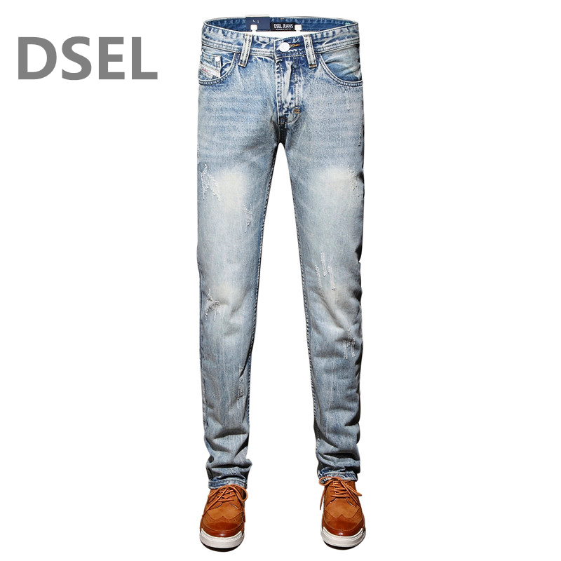 School Mens sky blue Jeans Water-washed Slim Straight Denim Jeans Ripped Trousers Plus Size:29-40 Brand Dsel Jeans Men E981 patch jeans ripped trousers male slim straight denim blue jeans men high quality famous brand men s jeans dsel plus size 5704