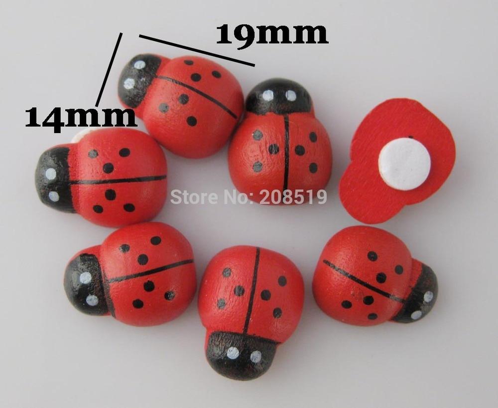 BJW0001 красные кнопки flatback дерево Божья коровка/Божья коровка 14 мм* 19 мм 100 шт./лот DIY аксессуары скрапбукинга