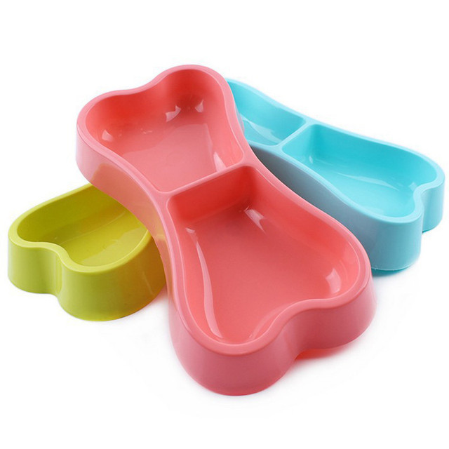 PP Food Double Bowl Small Bones Style Pet Dual Bowls Pet Supplies Dogs And Cats Dedicated Water Bowl Dog Accessories m