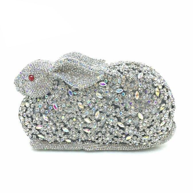 New Style Rabbit Evening Clutch Bag Crystal Women Handbag Women Rhinestone Clutch Bag Luxury Full Rhinestone Clutch Bag luxury crystal clutch handbag women evening bag wedding party purses banquet