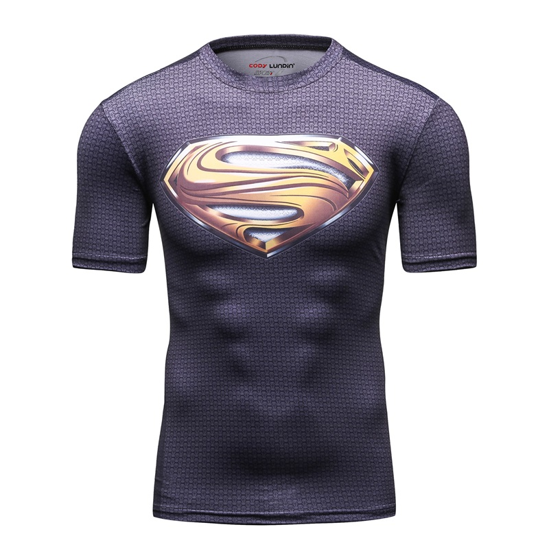 2018 Men's 3D Printing Brand Short-Sleeve T-shirt Man Yellow Superman LOGO Fashion Leisure Fitness Compression Shirts Tops For M