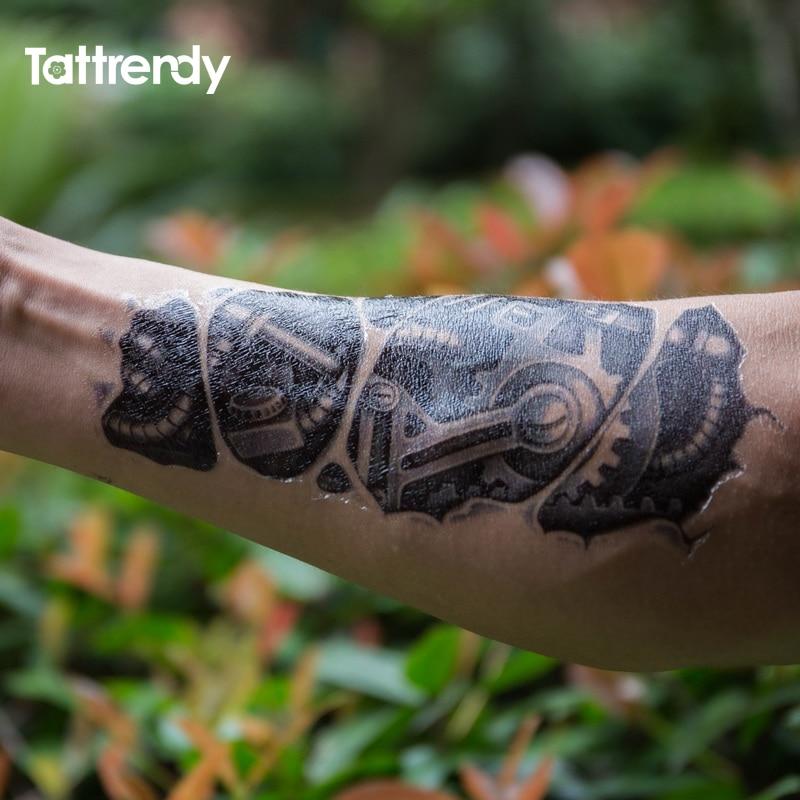 Temporary tattoos 3D black Robot mechanical arm fake transfer tattoo stickers hot sexy cool men spray waterproof designs C058 4