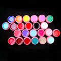 NEW PINK POT 24Pcs Mix Pure Solid Color UV Gel Builder Set for Nail Art False French Tips