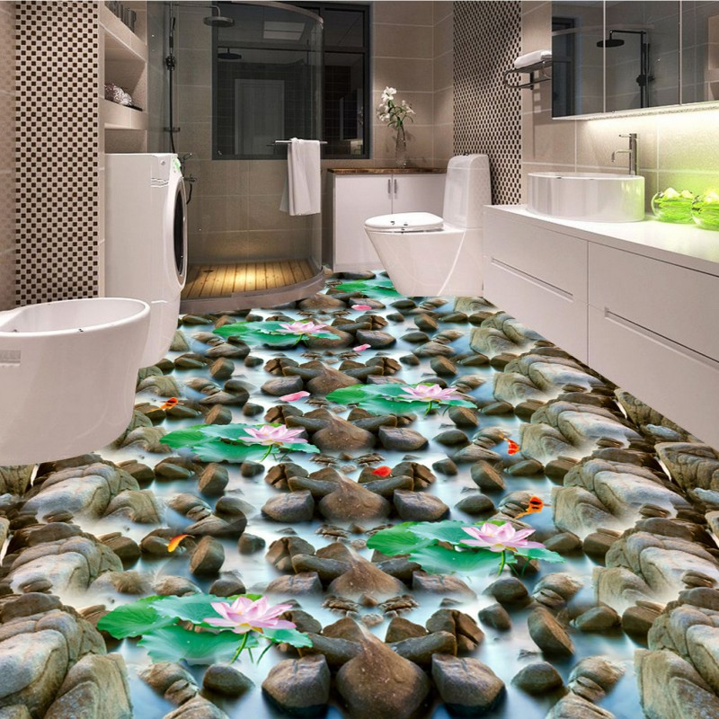 Free Shipping Sea stone pebble lotus carp bathroom kitchen 3d floor thickened non-slip living room bedroom flooring mural free shipping realistic large pond carp floor 3d wear non slip thickened kitchen living room bathroom flooring wallpaper mural