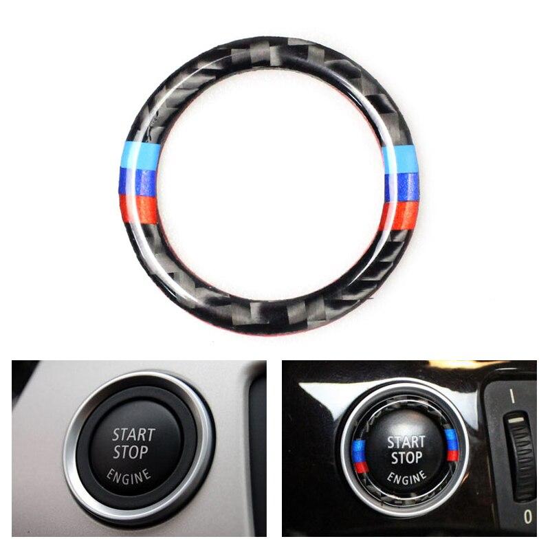 Car Carbon Fiber Engine Start Stop Push Button Ignition Key Ring Decor Trim For BMW 3 Series E90 E92 E93 E89 Z4 2009 2010  2011