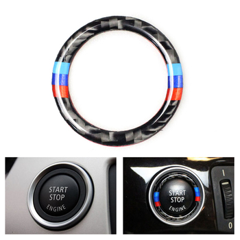Car Carbon Fiber Engine Start Stop Push Button Ignition Key Ring Decor Trim For BMW 3 series E90 E92 E93 E89 Z4 2009 2010 2011 image