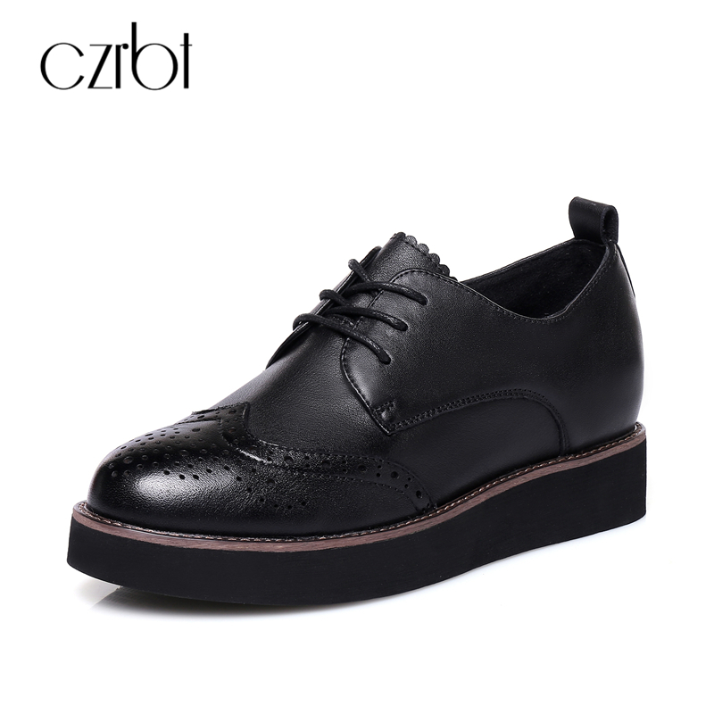 CZRBT Oxfard Flats Genuine Leather Platform Shoes Women Round Toe Lace-Up Flat Shoes Spring Autumn Black Casual Shoes Size 34-40 morazora spring autumn genuine leather flat shoes woman round toe platform fashion casual slip on women flats gold