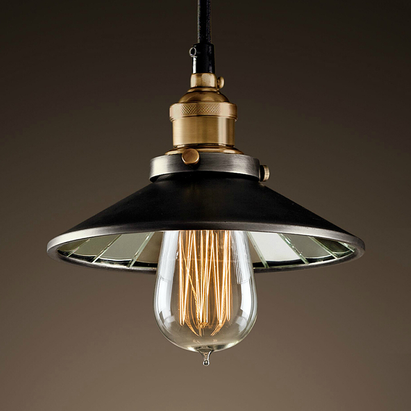 Nordic iron pendant lamps retro living room lamp single head of industrial wind mirror bronze pendant lights
