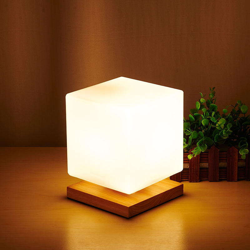 где купить LukLoy Modern Minimalist Bedroom Table Lamp Square Desk Creative Dimmable Milk White Glass Ice Warm Bedroom Bedside Table Light по лучшей цене