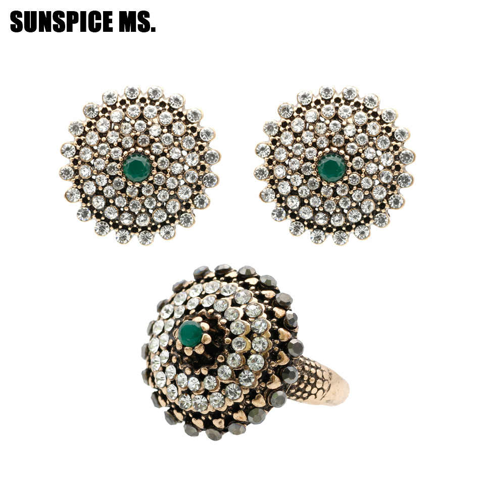Ethnic Full Rhinestone Round Earrings Ring Jewelry Sets Antique Gold Color Indian Wedding Bijoux Turkish Brand Design Wholesale