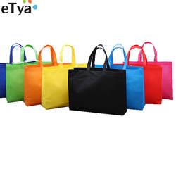 ETya для женщин складной многоразовая сумка для покупок эко большой унисекс ткань не-плетеные сумки через плечо Tote Бакалея ткань сумки чехол