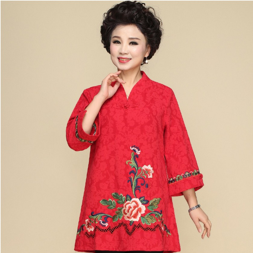 Chinese National Clothing Linen Shirt Blouse Plus Size Tang Suit Retro Embroidery Chinese Cheongsam Traditional Tops For Women