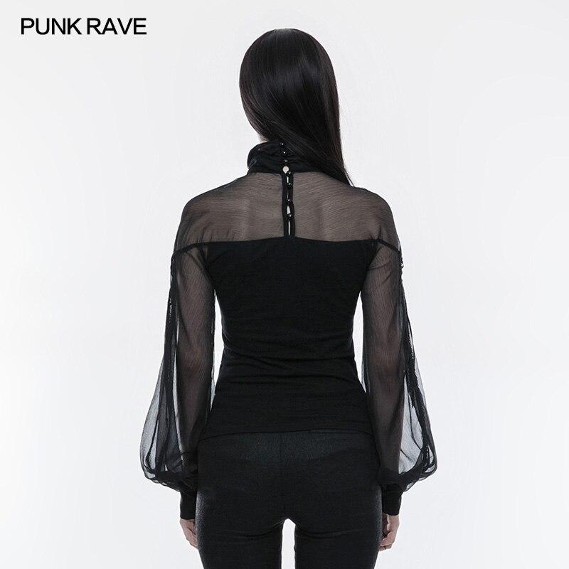 Creux Punk Pour shirt Perspective Noir Sexy Gothique Rave Coton Décontracté Femme Victorienne Out T tqCc4qRwF