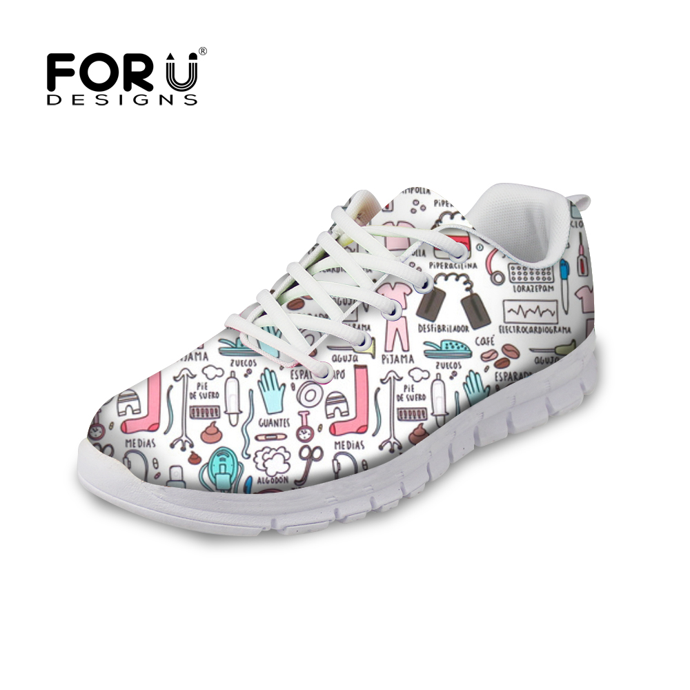 FORUDESIGNS Funny 3D Cartoon Nurse Pattern Sneakers Women Casual Breathable Mesh Flats Shoes for Teens Girls Spring/Autumn Flat forudesigns fashion women flat shoes female teens girls floral print casual flats breathable walking shoes for woman plus size