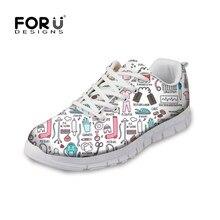 159e4237 FORUDESIGNS Funny 3D dibujos animados enfermera patrón zapatillas mujer  Casual transpirable malla zapatos planos para adolescentes