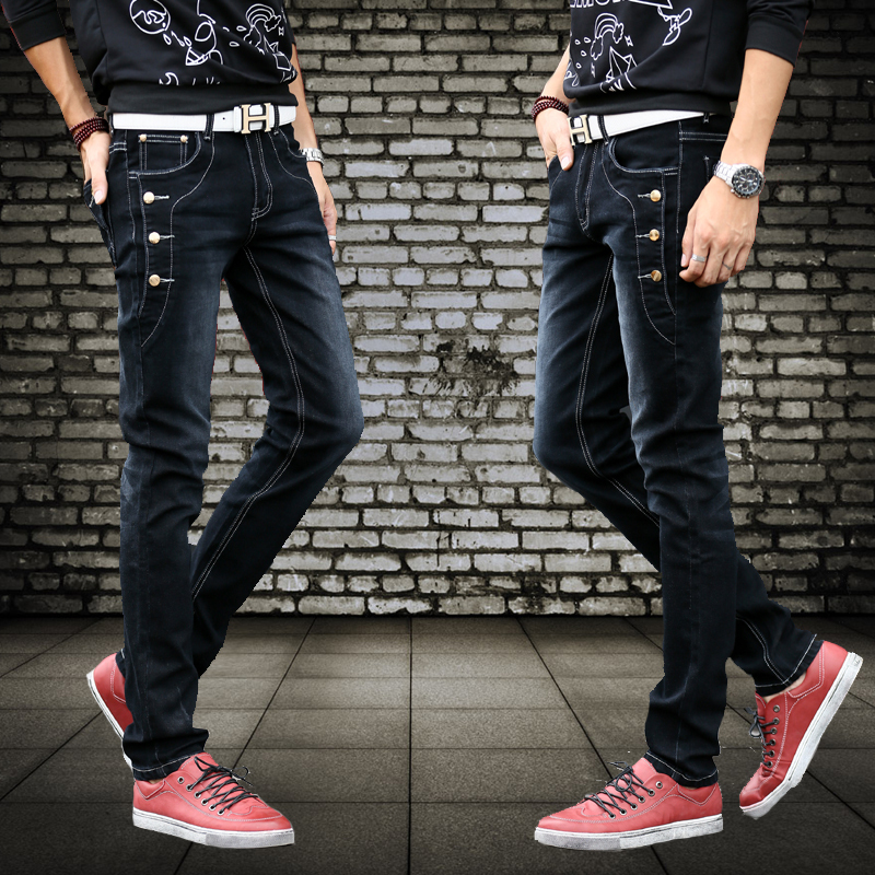 spring and summer men 39 s button front pocket jeans men slim pants feet fashionable stretch denim. Black Bedroom Furniture Sets. Home Design Ideas