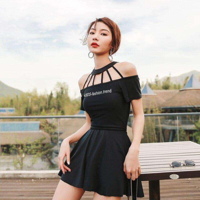 Sexy noir blanc profond V Style une pièce maillot de bain femmes robe de grande taille jupe dentelle Biquini taille haute Push Up maillot de bain Bikini