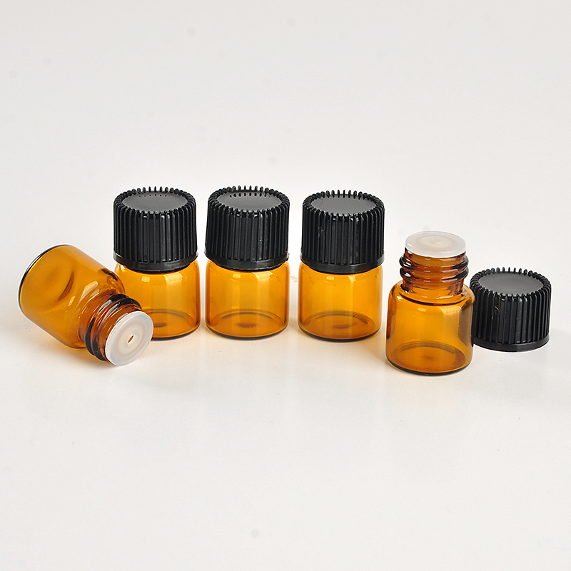 100Pieces/Lot 1ML Brown Glass Perfume Bottle For Essential Oils Empty Contenitori Cosmetici Vuoti For Personal Care Sample Jar