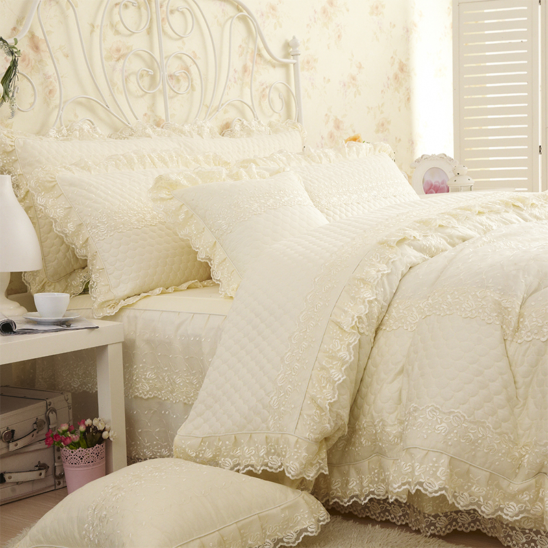 Lace Princess Bedding Set King Queen size 4pcs Pink/Beige Thick Duvet cover Girls Bedclothes Bed sheet Pillowcase 100% Cotton ...