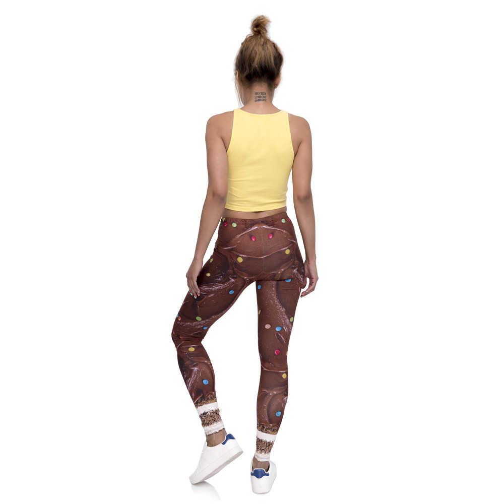 Fashion Design kobiety Legging tort czekoladowy drukowane legginsy Slim przytulne spodnie damskie o wysokiej talii