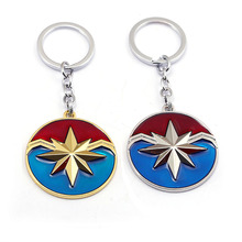10pcs The Avengers Captain Marvel Logo keychain Fashion Metal American key chains Pendant Ms. Marvel Gift Movie Jewelry thanos