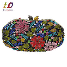 New Women Evening Bag Dazzling Flower Laminated Leaves Crystal Rhinestones Wedding Cocktail Party Handbags Clutch Wallet 88240
